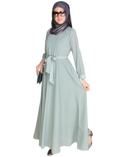 Gathered Neck Green Maxi Dress