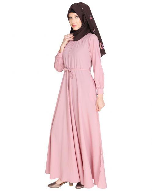 Gathered Neck Blush Pink Maxi Dress