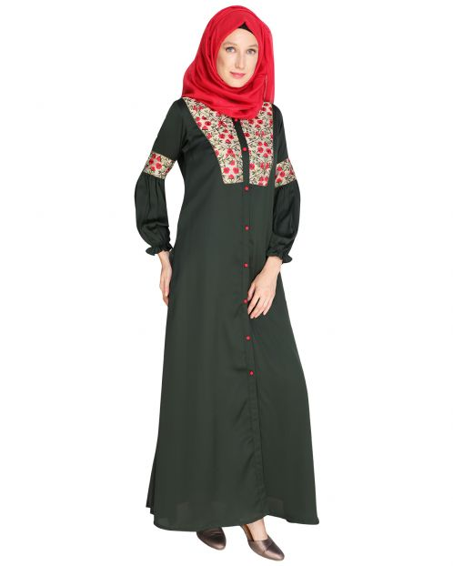 Baloon Sleeves Embroidered Abaya