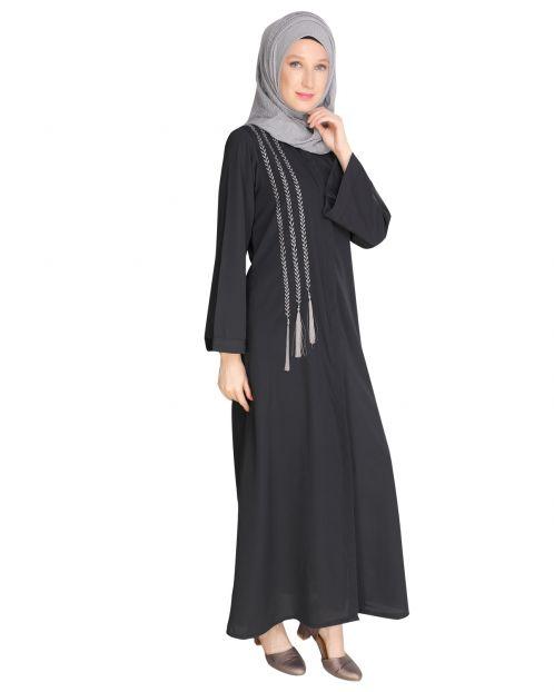 Elegant Dark Grey Embroidered Abaya