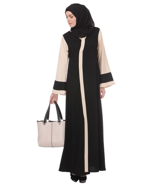 Bell-sleeved Black & Fawn Abaya