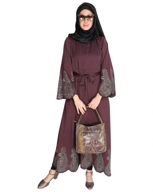 Block printed Purple Abaya