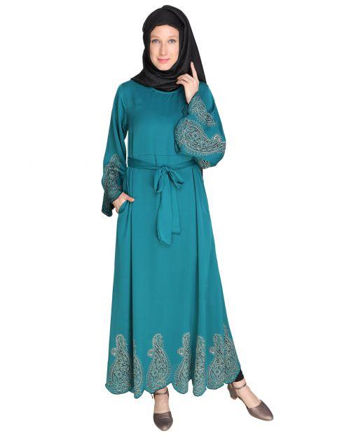 Block printed Teal green Abaya