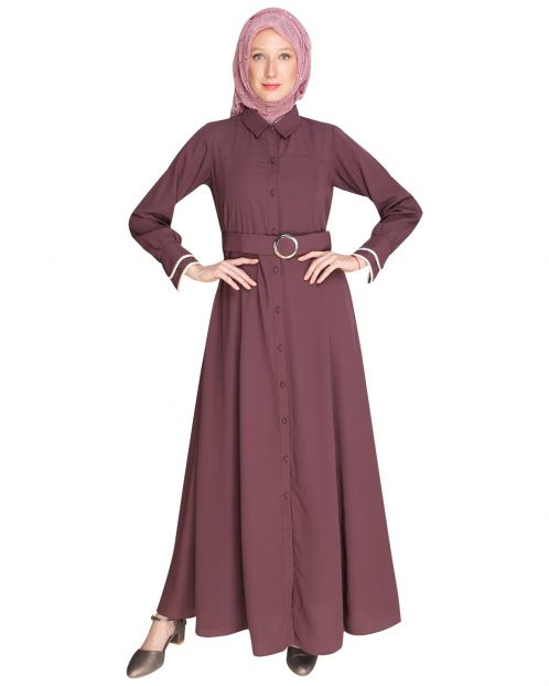 Shirt Style Purple Maxi Dress