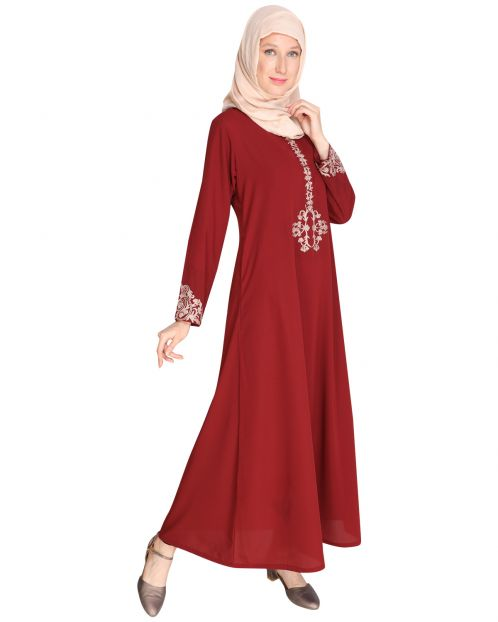 Persian Embroidered Maroon Abaya