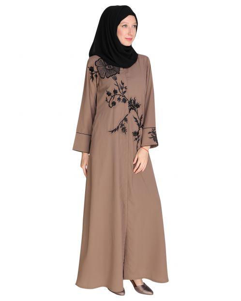 Floral Trunk Brown Abaya
