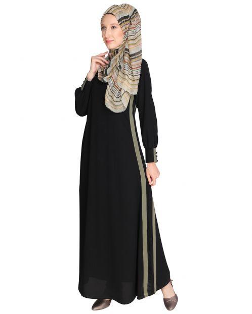 Black Side Detailed Abaya