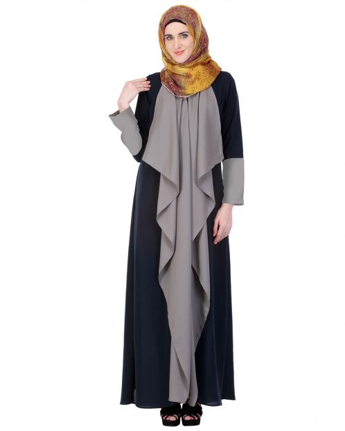 Shawl draped Blue & Grey Abaya