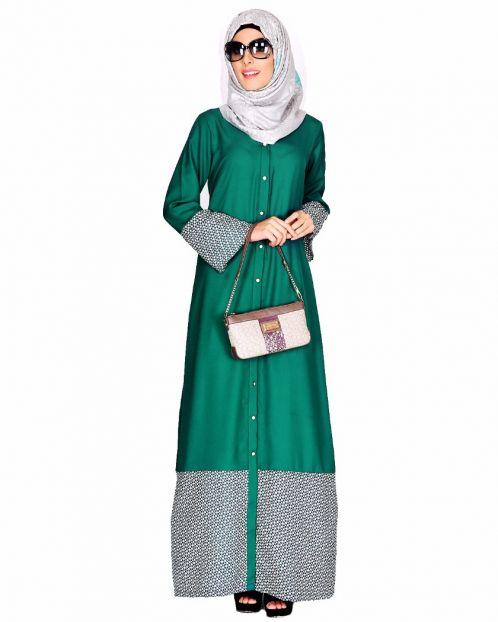 Printed Bottom & sleeve Abaya
