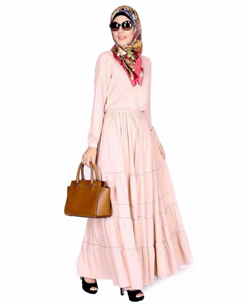 Beige Pintucks Yoke Long Maxi Dress
