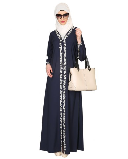 Blue Abaya with Thread embroidery