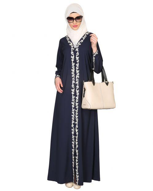 Blue Abaya with Thread embroidery