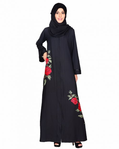 Elegant Silk-thread Rose Embroidered Abaya
