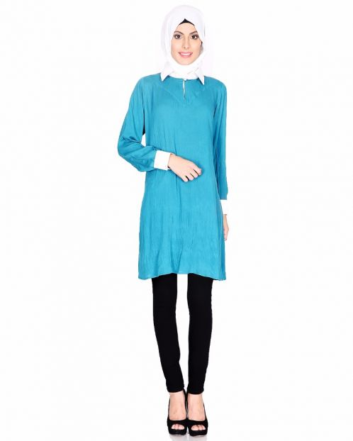 Teal Blue Shirt Collar Tunic