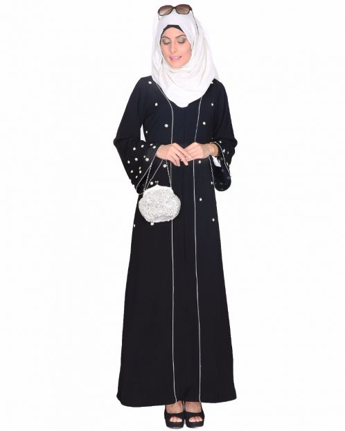Delicate Pearl Embroidered Abaya