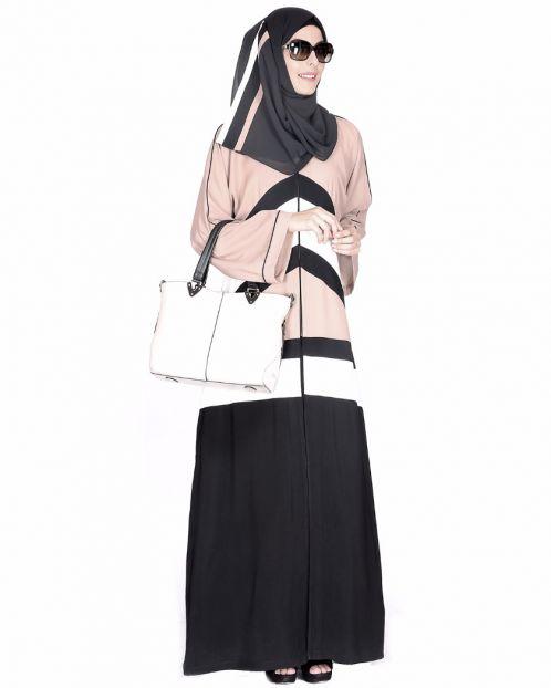 Black,White And Beige Abaya