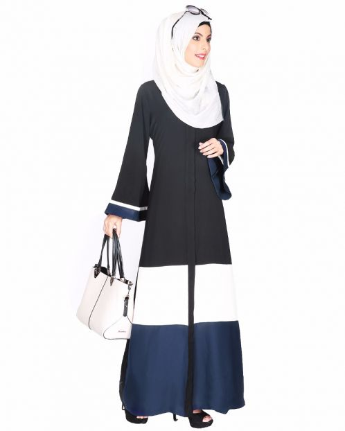 Black,White And Blue Abaya