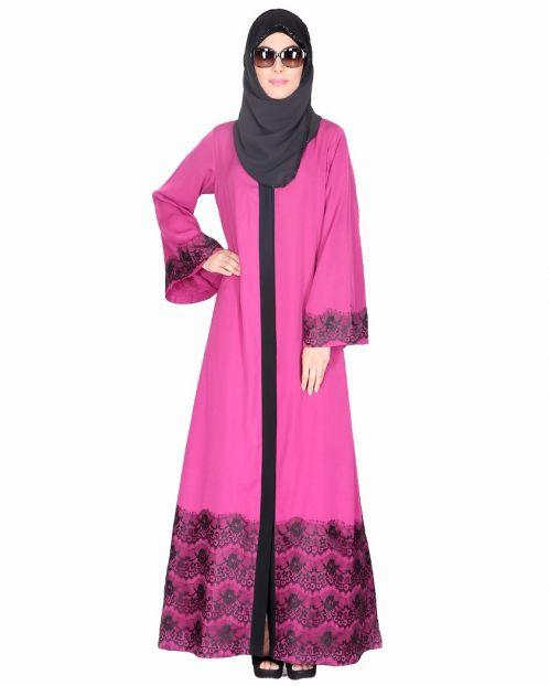 Magenta And Black Laced Abaya