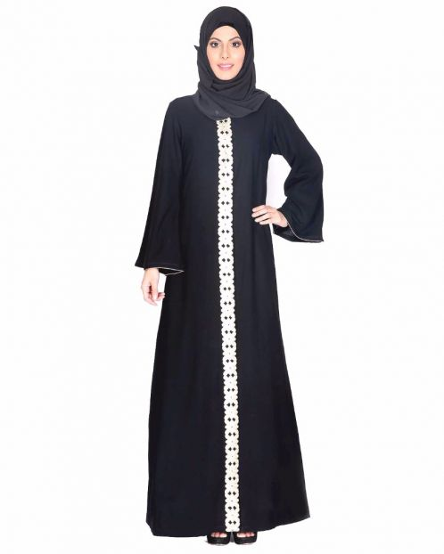 Golden Lace Embellished Abaya