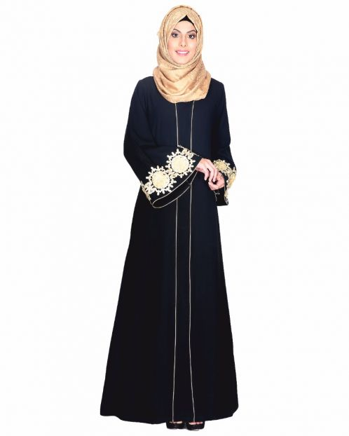 Black Abaya With Embellished Bell Sleeve