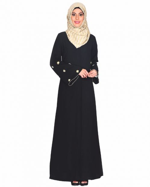 Black Abaya With Delicate Embroidered Bell Sleeve