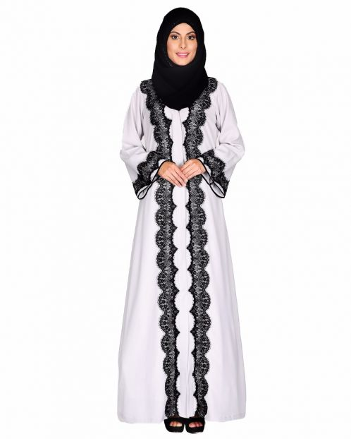 Grey Abaya With Embellished With Black Embroidery