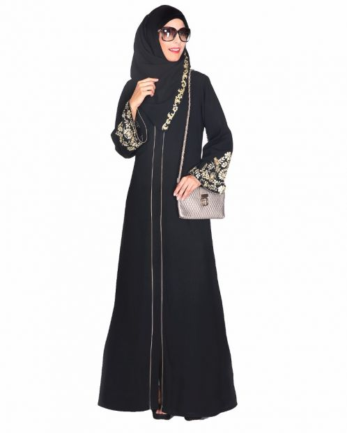 Black Abaya With Gold Zari Embroidered Bell Sleeve