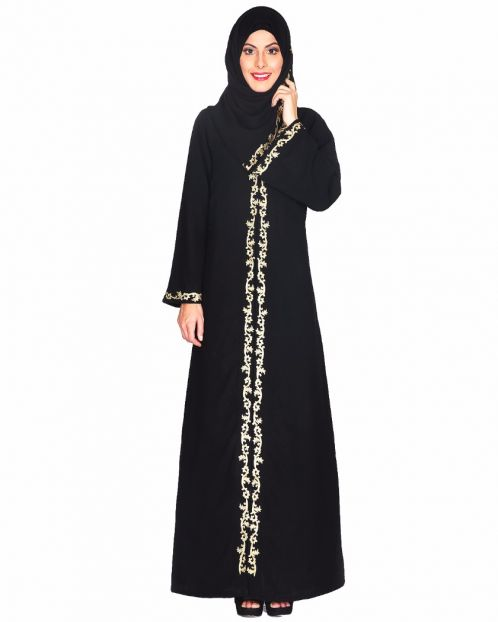 Gold Zari Embroidered Abaya