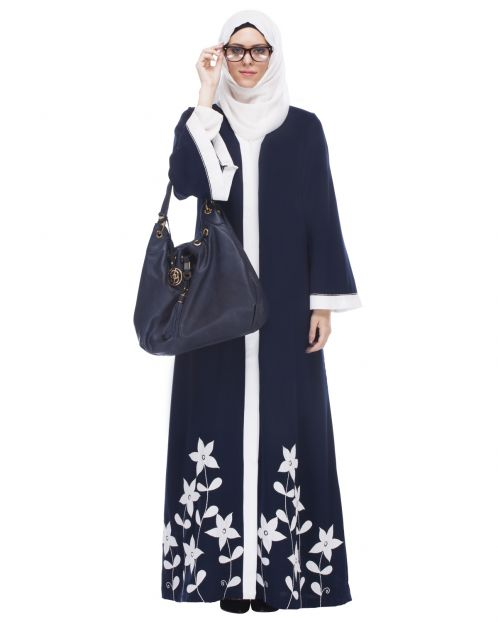 Blue Abaya With Applique Embroidery