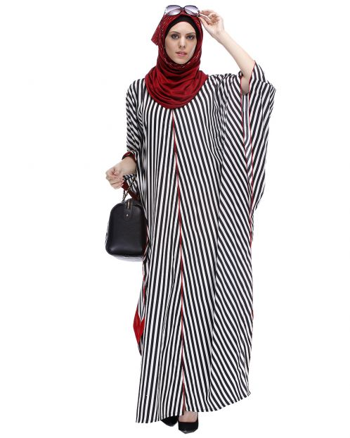 Black And White Striped Kaftan
