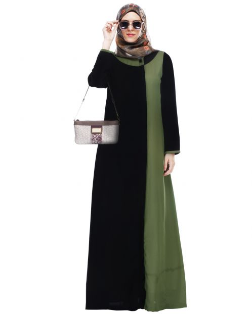 Black Abaya With Green Panel