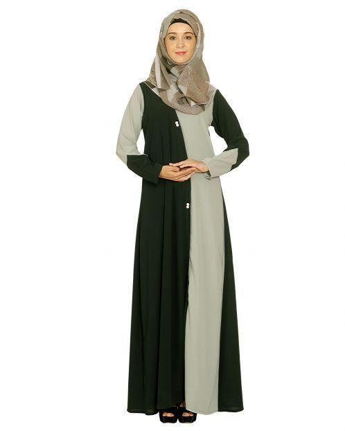 Dark Green Abaya with Sage Green Panel