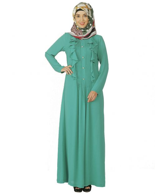 Sea Foam Green Ruffled Abaya