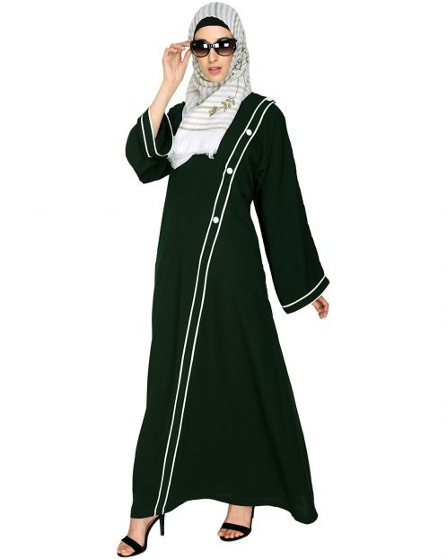 Intrigue Angrakha Dubai Style Green Abaya