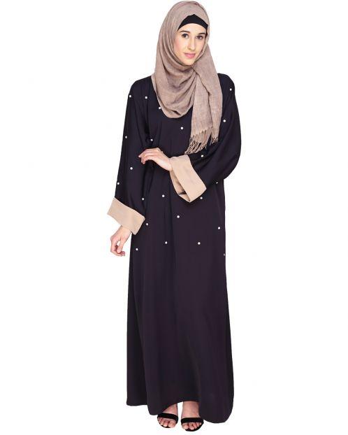 Pearl Delight Dubai Style Dark Purple Abaya