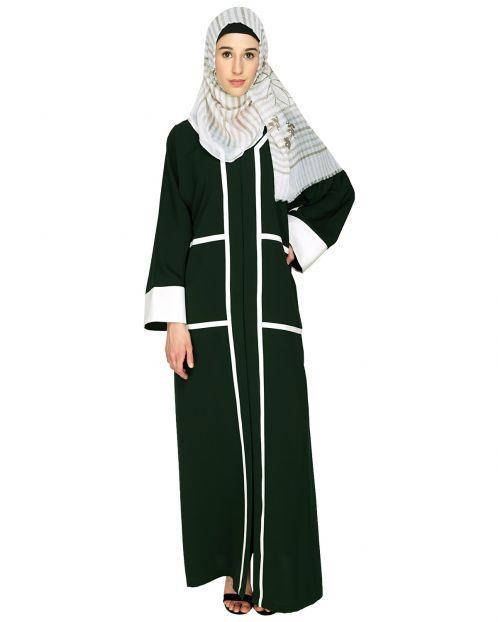 Elegant Green  Dubai Style Abaya with White Detailing