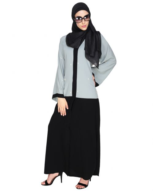 Pearl Drops Dubai Style Sage Green Abaya