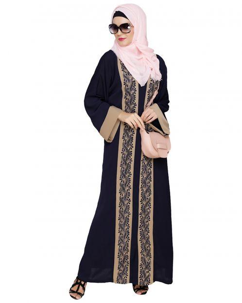 Exquisite Dubai Style Dark Blue Abaya