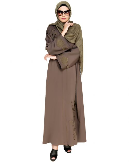 Botanical Mud Brown Embroidered Dubai Style Abaya